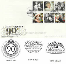 2016 HM THE QUEEN'S 90th BIRTHDAY MINT STAMP SET FDC FIRST DAY COVER VARIOUS PMK