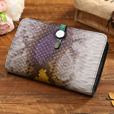 Top Genuine Leather Ladies Corco Snake Long Wallet Buckle Card Holder Billfold