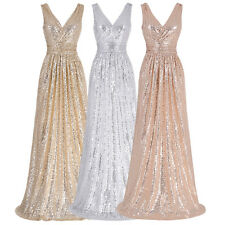 Sexy Formal Evening Long Party Prom Gown Ball Bridesmaid Sequins Wedding Dresses