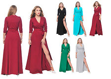 WOMENS LONG SLEEVE MAXI FULL LENGTH WRAP CROSSOVER DRESS PARTY COCKTAIL EVENING
