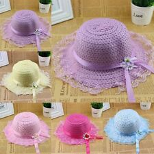 2-6Y Toddler Girl Baby Lace Flower Node Brim Hat Summer Beach Sun Hat Straw Cap