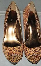 Macy's Nine West Women's Brown print leather high heels  shoes 8 M