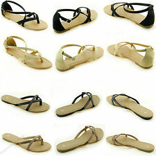 Women's Sandals New Gladiator Flat T-Strap Thong Style Flip Flops Shoes Toe Size