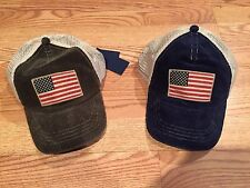 Polo Ralph Lauren big pony USA flag trucker baseball hat cap corduroy green blue