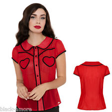 New Vintage Cut Retro Red Polka Dot Heart Vintage Fifties Lace Shirt Top