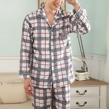 Hot Men's Comfy Cotton Sleeping Clothes Pajamas Set Long Sleeve Plaid Loungewear