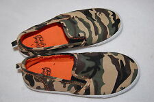 Boys Shoes ARMY GREEN BROWN CAMO Canvas Slip On BOAT DECK Casual 12 13 1 2