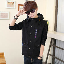 New Mens Fashion Trench Casual Slim Fit Jacket Long Sleeve Hooded Coat Outwear