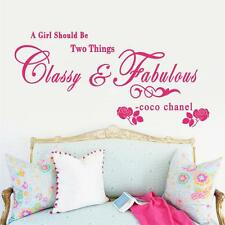 Inspiring CoCo Chanel Girl Quote Art Wall Sticker | Classy & Fabulous Girl Decal