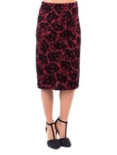 New Womens Floral A Line Velvety Textured Knee Length Skirt