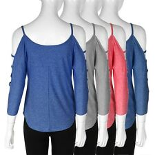 Womens Summer Open Shoulder Round Neck Middle Sleeve Tops Blouse Shirt HG