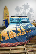 Retro Sunset Coast Surf Beach Quilt Doona Cover Set - SINGLE DOUBLE QUEEN KING