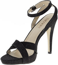 THERAPY WOMENS GLIMMER BLACK GLITTER HIGH HEEL PLATFORM SANDAL