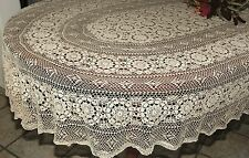 Vintage Floral Handmade 100% Cotton Fine Crochet Lace Tablecloth 72 108 126 OVAL