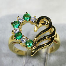 18K Yellow Gold Filled Emerald CZ Lady Fashion Jewelry Heart Ring R2240 Size5-10