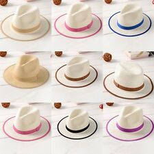 Children Boys Girls Summer Sun Jazz Hat Fedora Cowboy Straw Beach Wide Brim Cap