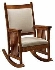Amish Mission Craftsman Rocking Chair Rocker Slat Sides Upholstered Madison
