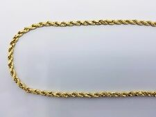 """10k Yellow Gold Diamond Cut hollow 5mm 18""""-30"""" Inches Rope Chain Necklace"""