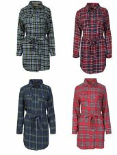 Womens Ladies Long Sleeves  Belted Check Print Scottish Plaid Shirt Dress