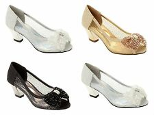 WOMENS GLITTER WEDDING BRIDAL PARTY EVENING COURT SHOES LADIES UK SIZE 3-8