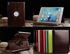 360 Rotating Folio Crocodile PU Leather Stand Smart Case Cover For Apple iPad
