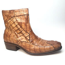 Calzoleria Toscana All-Over Horn-back Crocodile Ankle Boots