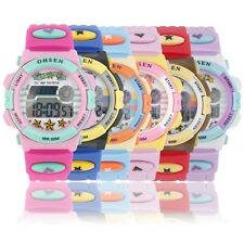Boys Girls Kids Rubber LED Light Digital Stopwatch Quartz Sports Wrist Watch BN