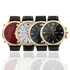 Men's Watches Large Display Round Dial Quartz Faux Leather Band Wrist Watch BG