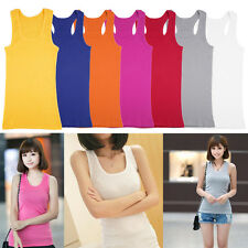Women Sports Fitness Sleeveless Camisole Cotton Vest Solid Color Tank Top BG