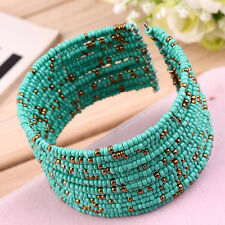 Fashion Women Beads Style Bracelet Opening Wide Bangle Charm Cuff Jewelry BG