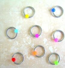 "16g 5/16"" Steel Captive Bead Ring 3MM Acrylic Neon Bead Ear Tragus  Eyebrow 1 PC"