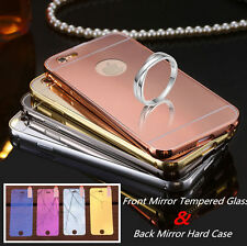 Luxury Mirror Effect Tempered Glass Film + Mirror Back Case Cover For iPhone Lot