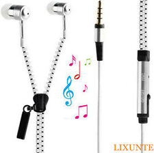 1X3.5mm JACK IN-EAR ZIP ZIPPER STEREO HANDS-FREE HEADPHONE EARPHONE EARBUD + MIC