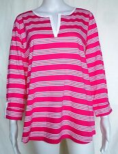 JONES NEW YORK Split Neck Tunic, OX, XL, Pink & White, NWT, CLEARANCE