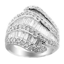 Round and Baguette VS1 SI1 GH Diamond Ring 18k White Gold