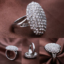 Silver Ring Alloy Crystal Jewelry Size 6-13 Womans Wedding Party Xmas Engagement