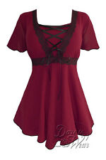 Gothic ANGEL Stretch Corset Style Top BURGUNDY / BLACK Sizes 10/12 - 26/28