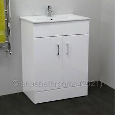 Bathroom 600mm Turin Vanity Unit Ceramic Basin Sink Storage Gloss White