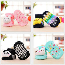 Cartoon Newborn Baby Girl Boy Anti-slip Socks Slipper Shoes Boots 0-6 Months