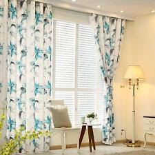 Blue Floral Curtains Pair Of Ready Made Eyelet Top Chenille Shabby Chic Curtain