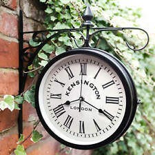 Outdoor Retro Vintage Double Sided Hanging Station Wall Clock