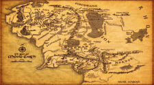 Map Of Middle Earth The Lord Of The Rings Poster 20x36 Art Fabric Canvas Wall 3