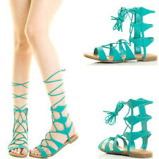 Aqua Open Toe Leg Wrap Strappy Lace Up Cage Cut Out Gladiator Womens Flat Sandal