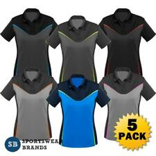 5 x Ladies Victory Polo Shirt Womens Sports Work Top Fluoro Size 8-24 New P606LS
