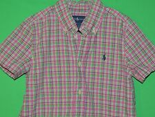 Polo Ralph Lauren Boys' Youth Size 6 Pink Plaid Short Slv Button Shirt