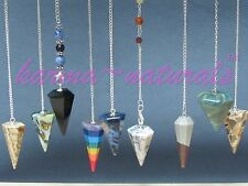 HEXAGONAL PENDULUM Mineral Crystal Gemstone HEALING Reiki Dowsing - NEW