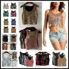 Sexy Women Spangle Sequin Glitter Tank Top Vest Sleeveless T-Shirt Camisole Hot!