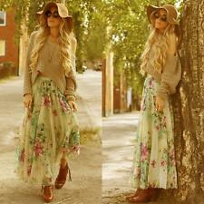 Women Chiffon Pleated Long Maxi Boho Retro Art Floral Dress Elastic Waist Skirt