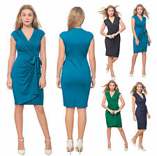 WOMEN'S CLASSIC SLEEVELESS SUMMER KNEE WRAP DRESS STRETCH PLUS STRETCH DRESS