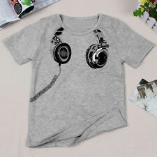 Baby Kids Earplugs Pattern T-Shirt Summer Short Sleeve Tops Tee Costumes Clothes